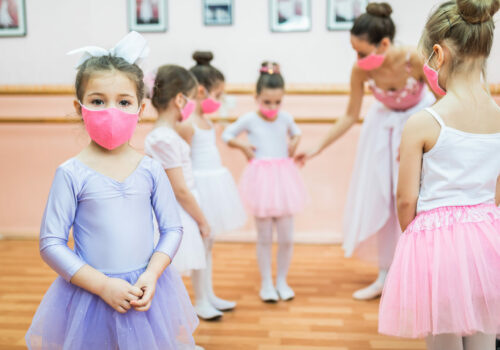 Group,Of,Beautiful,Little,Girls,With,Protective,Face,Masks,Practicing